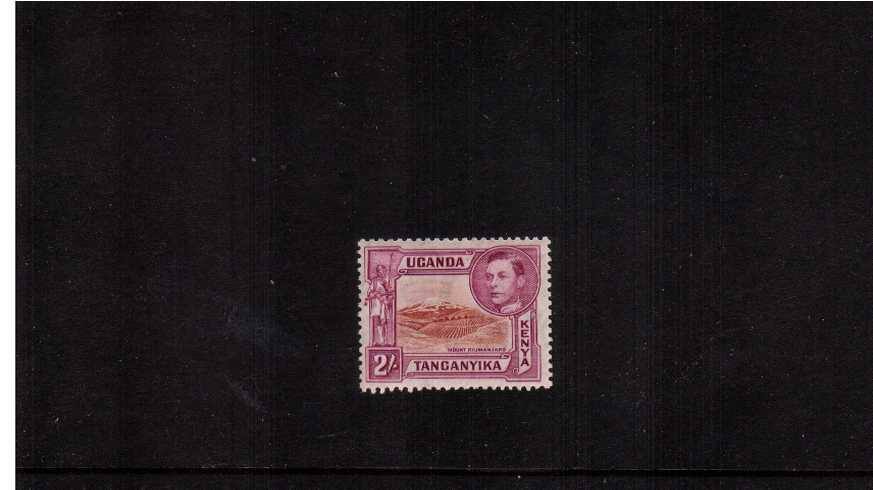 2/- Brown & Purple - Perforation 13¼<br/>A fine lightly mounted mint stamp.