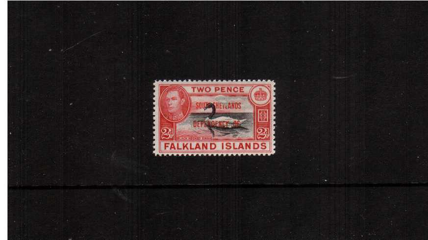 2d Black and Carmine overprinted ''SOUTH SHETLANDS'' superb unmounted mint single showing a superb ''confetti'' flaw resulting in a heavily indented half circle (of where the paper was) and part missing overprint. Rare and unique!<br/><b>ZAZ</b>