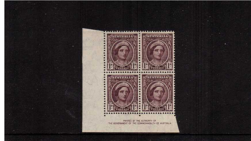 1d Purple Brown Authority Imprint SW corner block of four lightly<br/>mounted mint on the top two stamps.