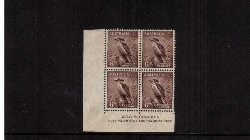 6d Purple-Brown McCracken Imprint SW corner block of four lightly<br/>mounted mint on the top two stamps.