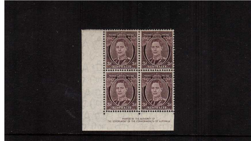 3d Purple-Brown Authority Imprint SW corner block of four lightly<br/>mounted mint on the top two stamps.