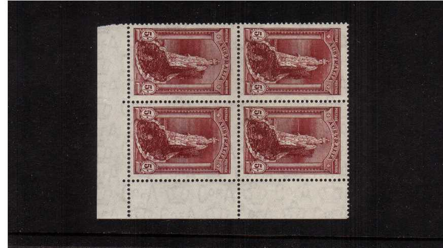 5/- Claret - Thin Rough Ordinary Paper<br/>