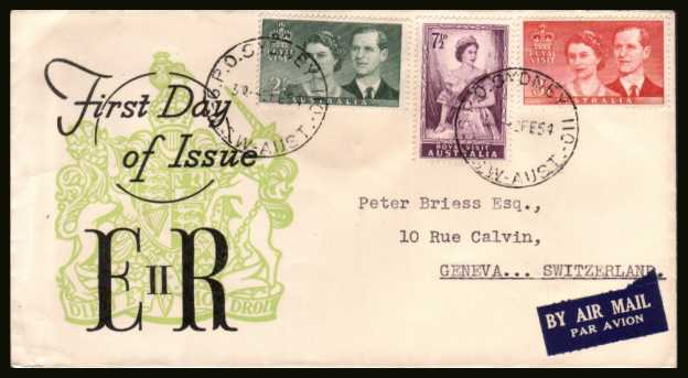 Royal Visit set of three on <br/>a colour first day cover dated 2 FEB 54.