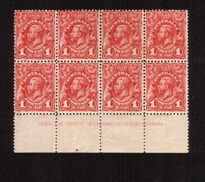 1d Red Engaved - No Watermark<br/>A lower marginal block of eight superb unmounted mint - three stamps trace of hinge.