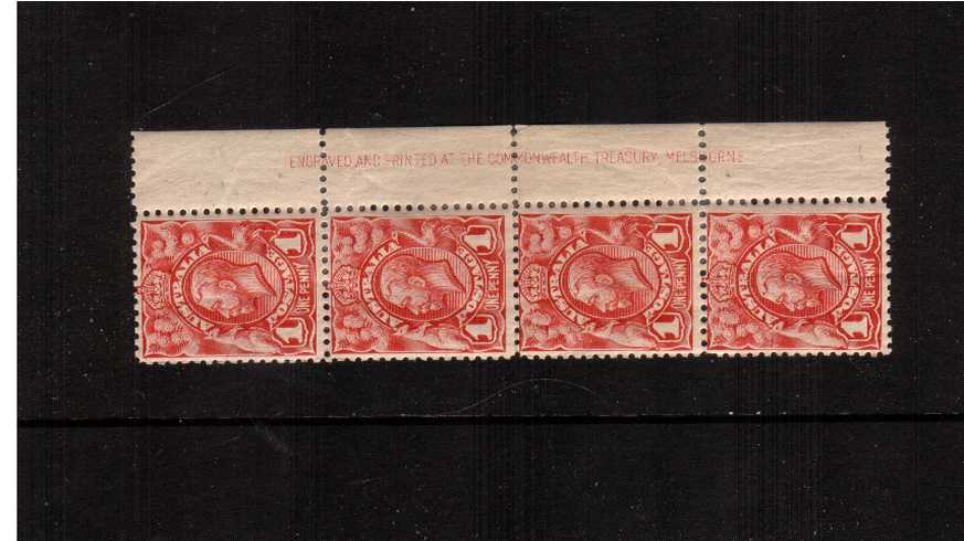 1d Red Engaved - No Watermark<br/>In a right side imprint vertical strip of four.