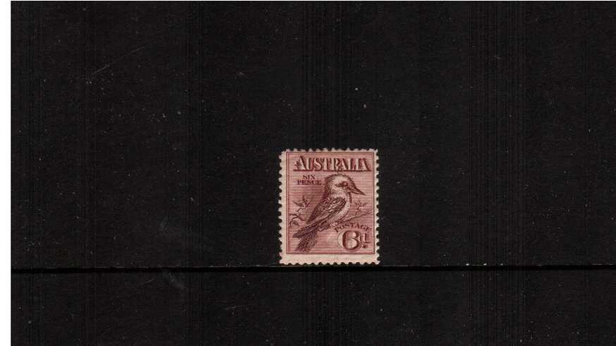 6d Claret - Kookaburra Engaved - No Watermark<br/>A good mounted mint single