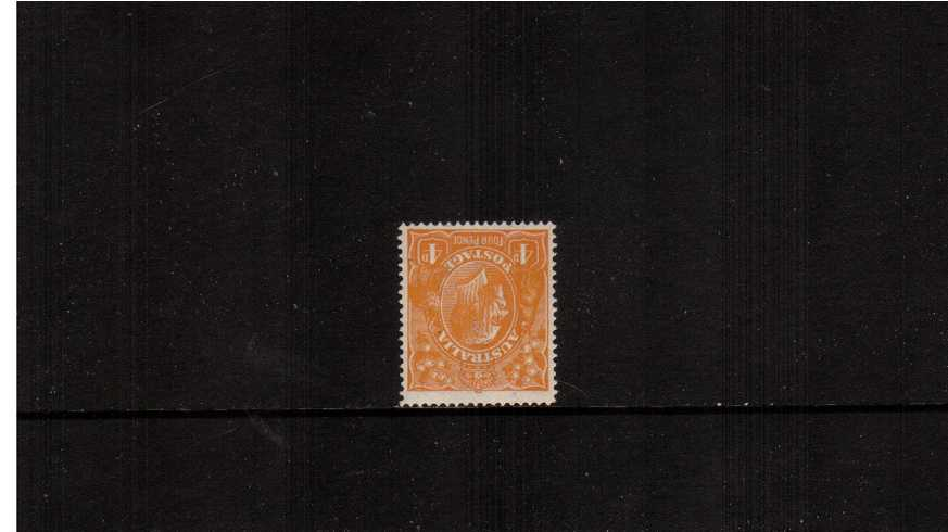 4d Yellow-Orange <br/>A superb unmounted mint single clearly showing ''INVERTED WATERMARK'' Superb!