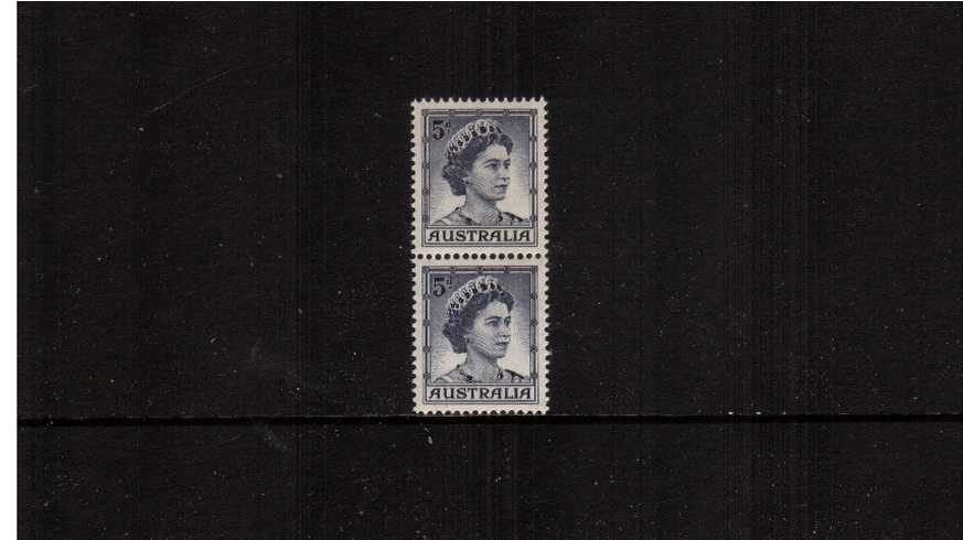 5d Deep Blue in an unmounted mint vertical coil pair showing the distinctive special coil perforations between the two stamps.<br/><b>ZAZ</b>