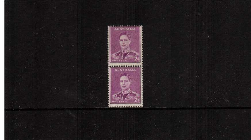 2d Bright Purple King George 6th in an unmounted mint vertical coil pair showing the distinctive special coil perforations between the two stamps. 