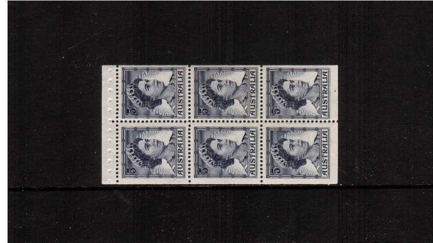 5d Deep Blue in a superb unmounted mint booklet pane of six. Scare pane.