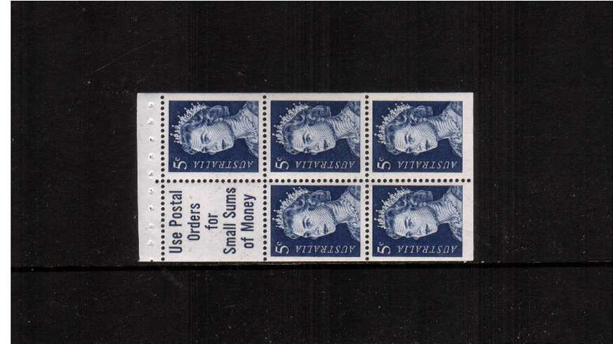 5d Deep Blue in a superb unmounted mint booklet pane of five plus label.