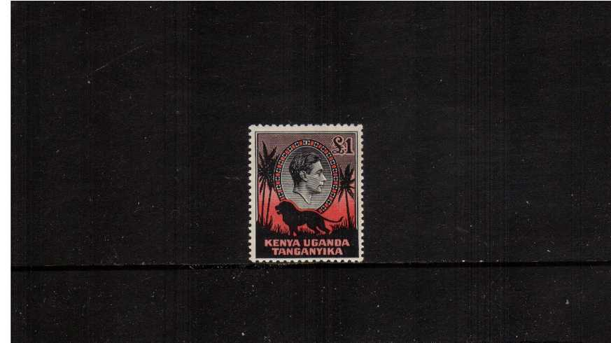 £1 Black and Red - Ordinary Paper - Perforation 11¾ x 13<br/>