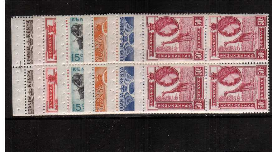 Complete set of six booklet panes in superb unmounted mint blocks of four. The 15c is SG169a. Some trimmed edges as to be expected - because they are booklet panes!!