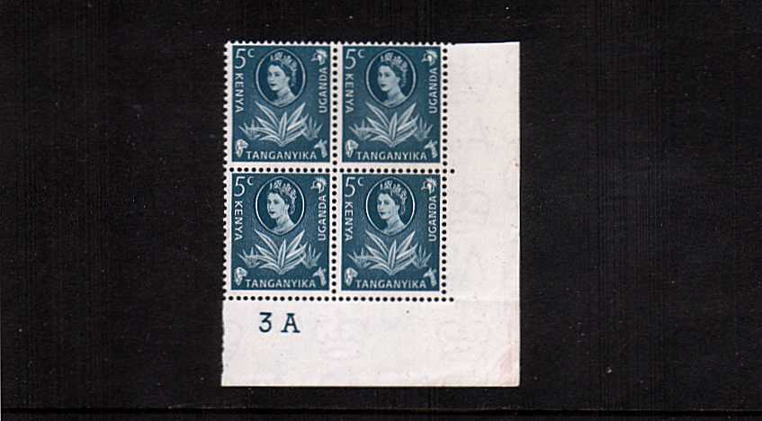 5c Prussian Blue definitive value in a superb unmounted mint cylinder block of four.
