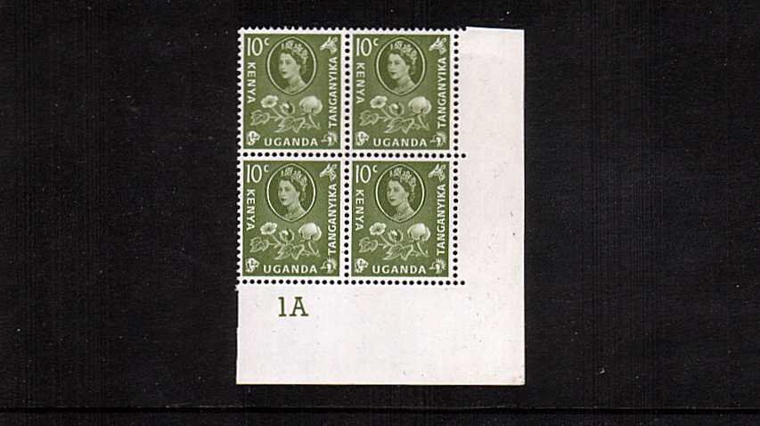 10c Yellow-Green definitive value in a superb unmounted mint cylinder block of four