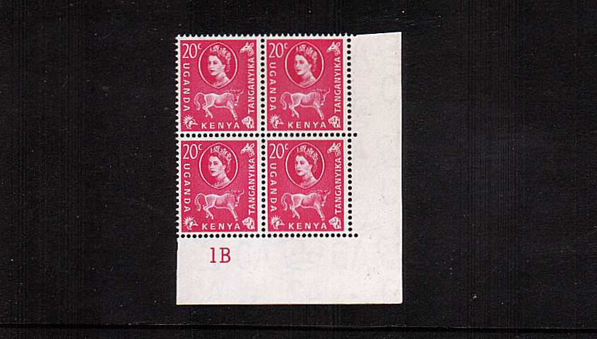 20c Magenta definitive value in a superb unmounted mint cylinder block of four