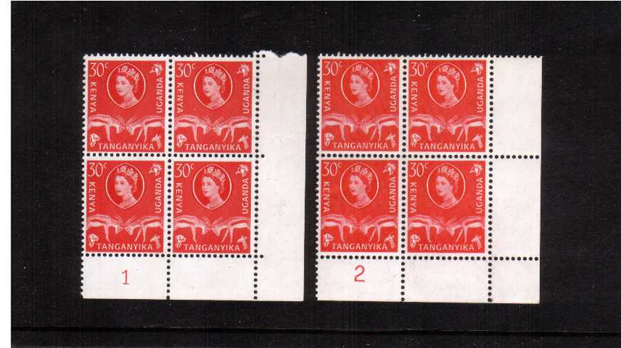 30c Vermilion definitive value in a superb unmounted mint cylinder blocks of four showing two different cylinders.