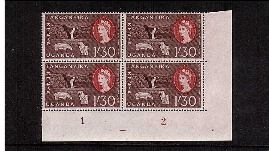 1/30 Chocolate and Brown-Red definitive value in a superb unmounted mint plate block of four.