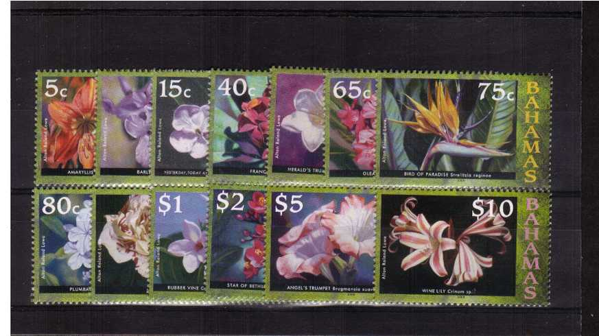 Flowers of Bahamas watermark change set of thirteen  superb unmounted mint.<br><b>XCX</b>