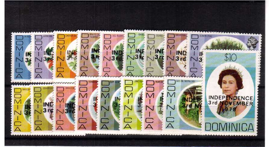 ''INDEPENDENCE 3rd NOVEMBER 1978''<br/>A fine lightly mounted mint set of eighteen.<br><b>ZKU</b>