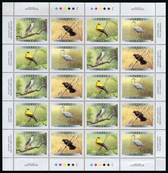 Birds - 4th Series - Complete sheetlet of twenty superb unmounted mint.