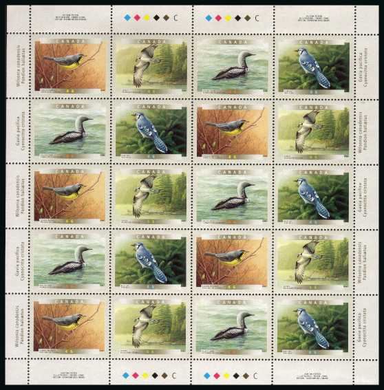Birds - 5th Series - Complete sheetlet of twenty superb unmounted mint.