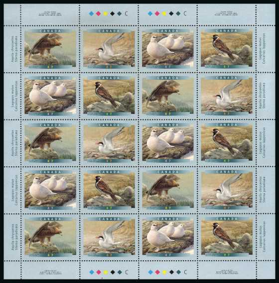 Birds - 6th Series - Complete sheetlet of twenty superb unmounted mint.