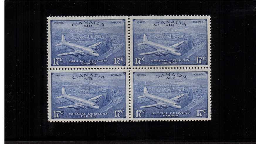 Special Delivery - Air<br/>The 17c stamp in superb unmounted mint block of four.