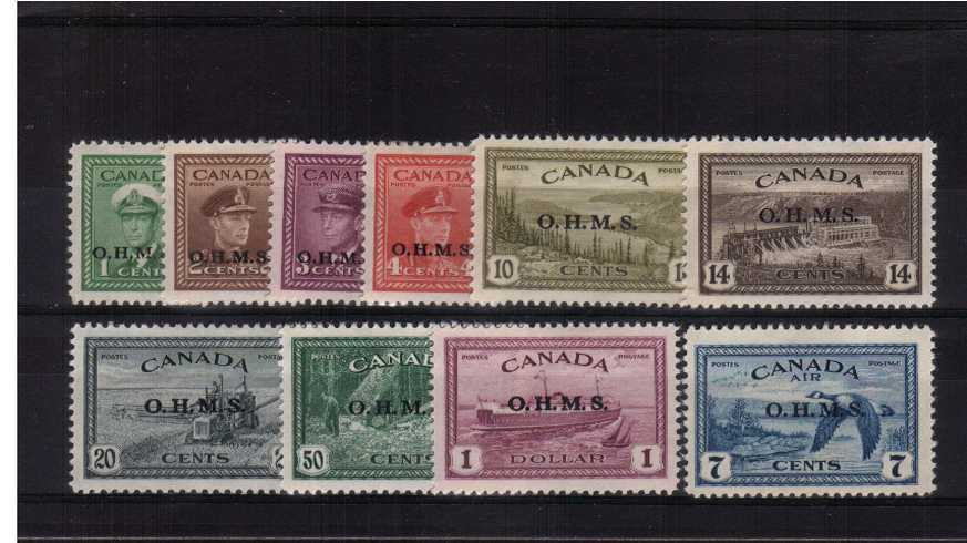 The ''OHMS'' set of ten very fine lightly mounted mint