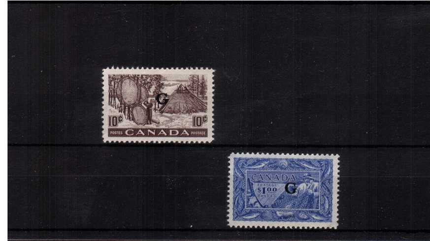 The ''OFFICIALS'' complete set of two overprinted ''G'' fine very lightly mounted min.
