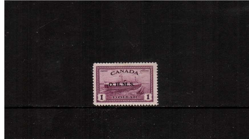 $1 definitive single with O.H.M.S. overprint.<br/>A well centered and fresh looking good mounted mint. stamp.<br><b>XQX</b>