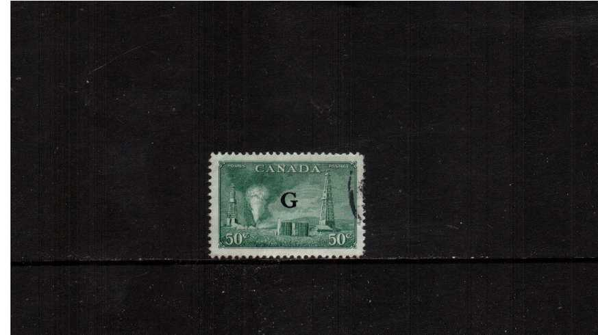 50c ''Oil Wells'' definitive single with ''G'' overprint fine used.<br><b>XQX</b>
