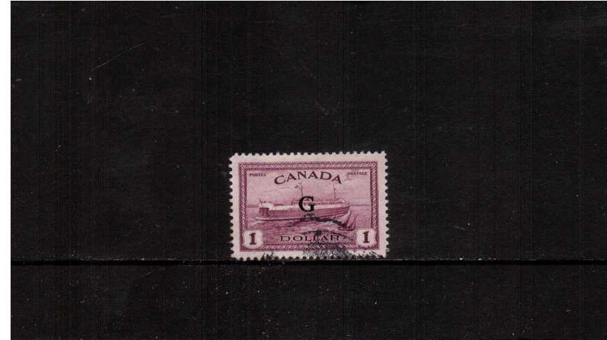 $1 Purple ''Ship'' definitive single with ''G'' overprint good used.<br><b>XQX</b>