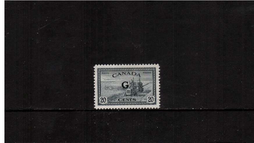 20c definitive single with ''G'' overprint fine very lightly mounted mint.<br><b>XQX</b>