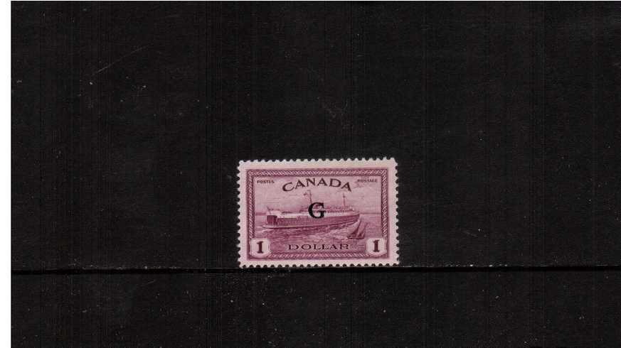$1Purple ''Ship'' definitive single with ''G'' overprint very fine lightly mounted mint.<br><b>XQX</b>