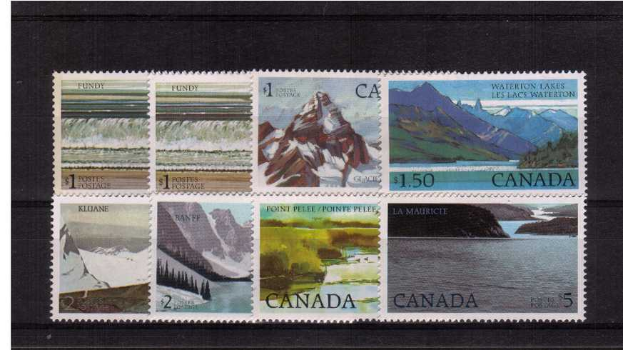 The National Parks High Values<br/> Complete set of eight superb unmounted mint including both types of the One Dollar.