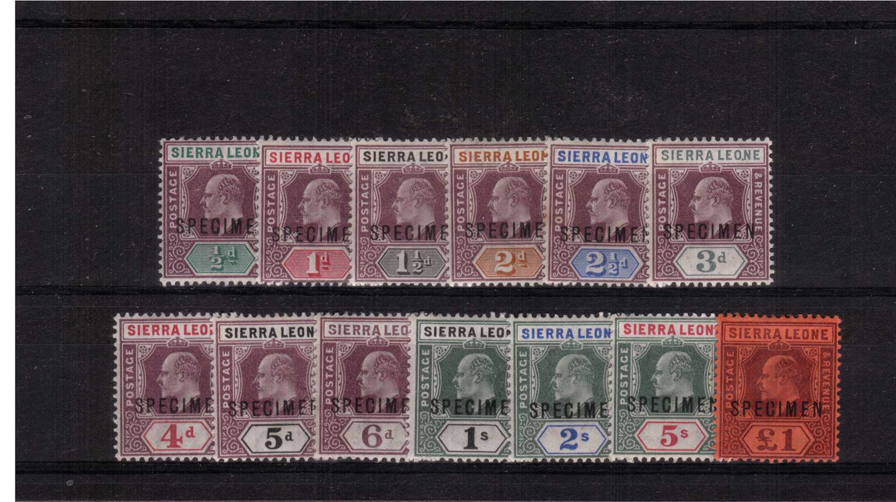 The first Edward 7th set overprinted ''SPECIMEN'' set of thirteen.