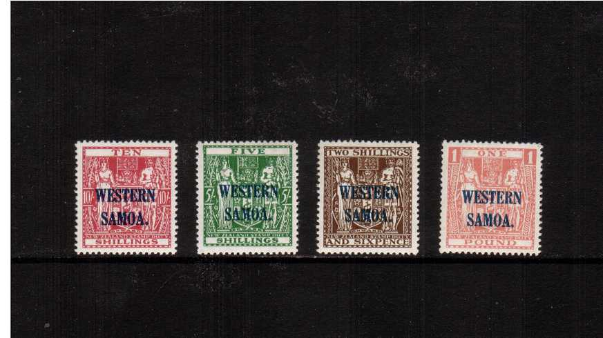 The Fiscal Issues set of four overprinted''SAMOA'' in Blue superb unmounted mint.