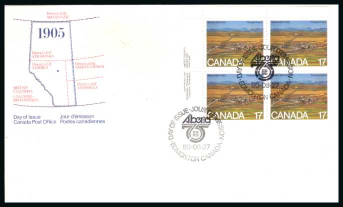 The Alberta single as a block of four on an Official FDC