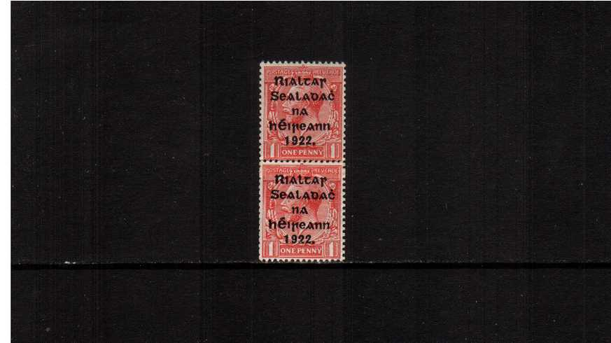 1d Scarlet as a superb unmounted mint vertical <b>COIL JOIN</b>