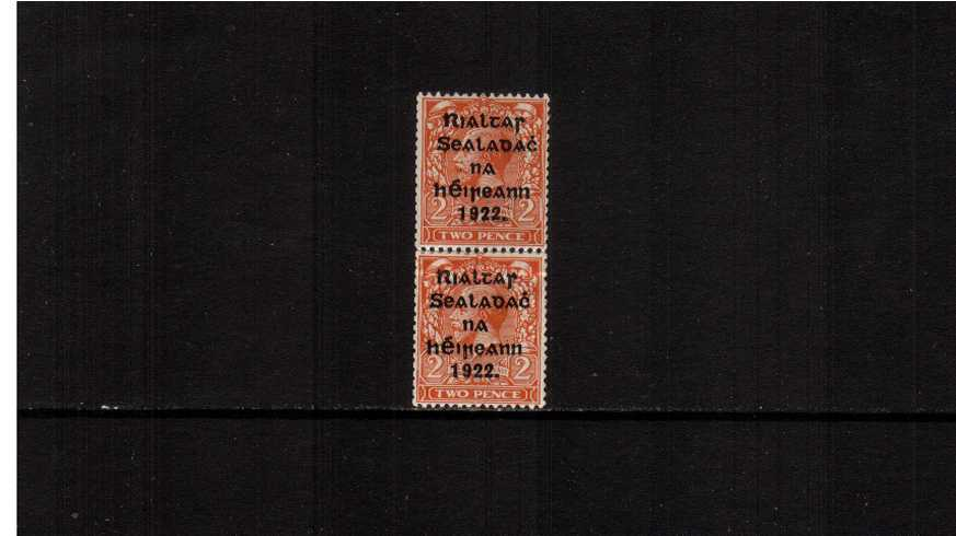 2d Orange - DIE I as a superb unmounted mint vertical <b>COIL JOIN</b>