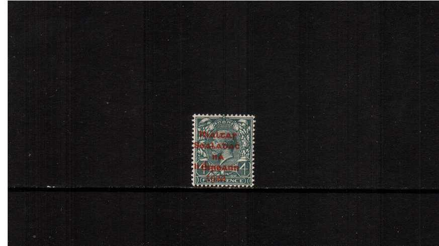 4d Grey-Green with Red overprint. A superb unmounted mint single.