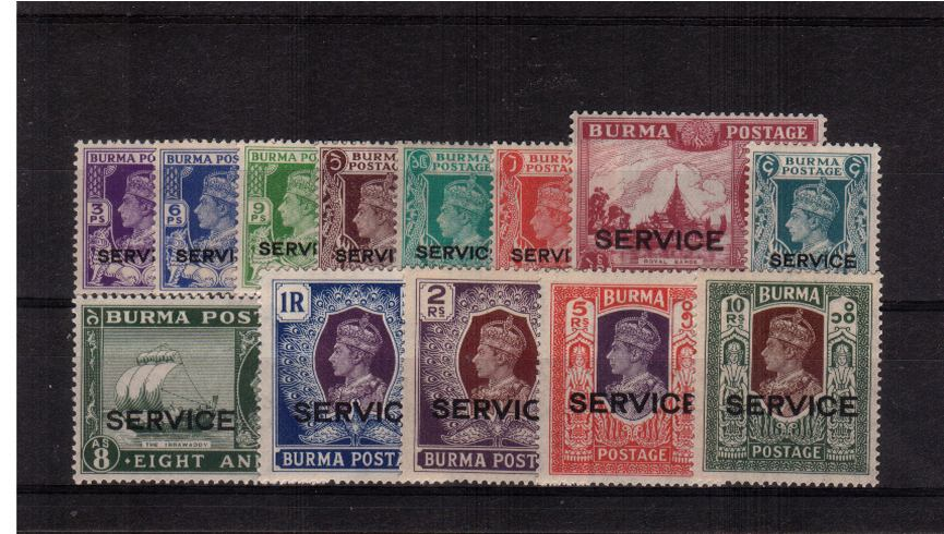 The ''SERVICE'' overprint set of thirteen fine lightly mounted mint.