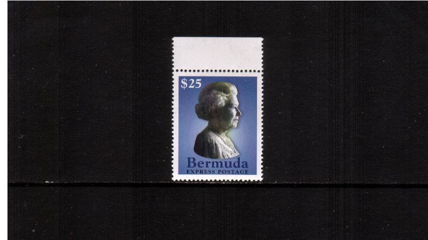 $25 ''Queen's Head'' Express stamp superb unmounted mint top margin single.<br><b>XLX</b>
