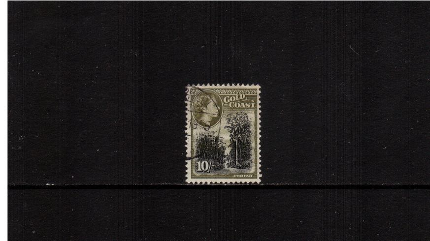 10/- Black and OLive-Green<br/>A superb fine used single.<br><b>XMX</b>