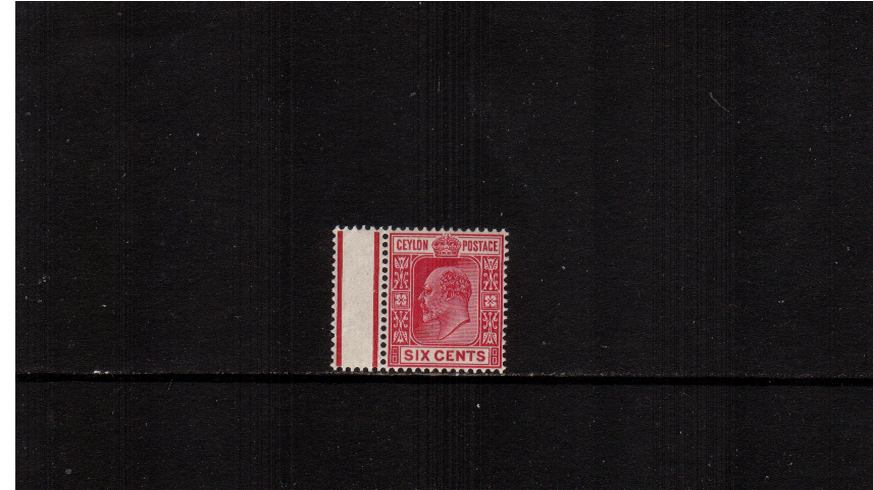 6c Carmine - Watermark Crown CA<br/>A left side part gutter single superb unmounted mint.