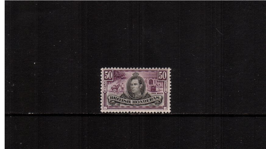 50c Black and Purple definitive single fine very lightly mounted mint.