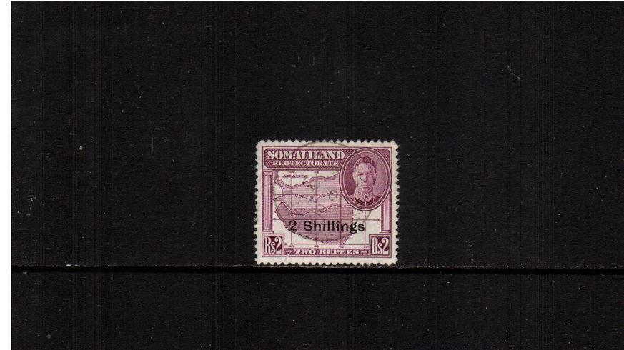 2R Purple ''New Currency surcharge'' definitive single.<br/>A superb fine used single with a ''Socked on the nose'' cancel.<br><b>XMX</b>