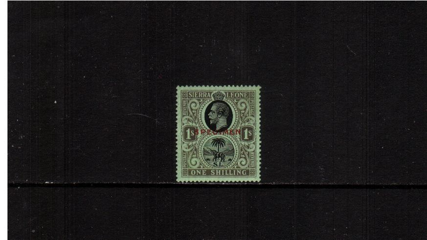 1/- Black on Emerald overprinted ''SPECIMEN'' in Red.<br/>A very lightly mounted mint single.