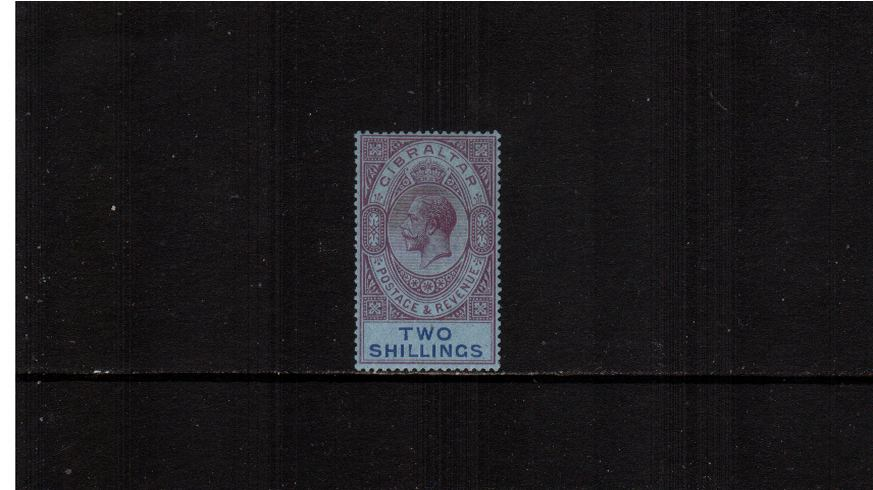 2/- Reddish Purple and Blue on Blue - Watermark Multiple Script CA<br/>